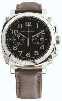 Часы Молния EVOLUTION стальной корпус, коричневый ремень